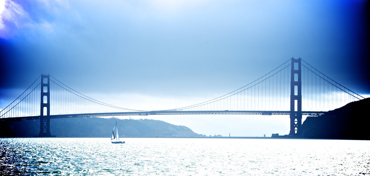 Golden Gate Bridge has the blues - view from the ferry